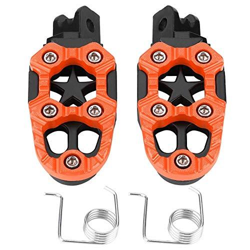 moto estriberas - 1 par pedales apoyo aluminio para motocicleta, pedestales, pedales, 8 mm Orificios de montaje universales (naranja y plateado) (Color : Naranja)