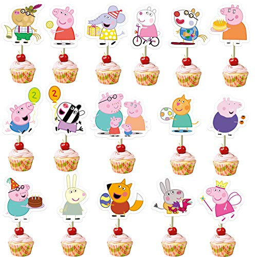 32Pcs Peppa Pig Cupcake Toppers for Baby Shower and Happy Birthday Cupcake Decor,16 Styles