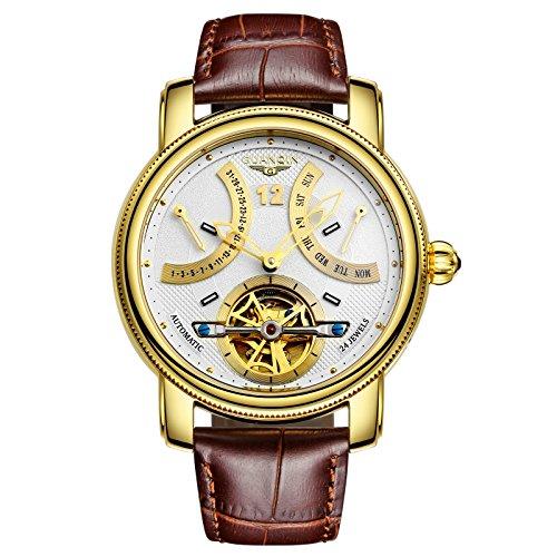 Guanqin Herren Uhr Analog Automatik mit Leder Armband GJ16009 Gold Weiß Braun