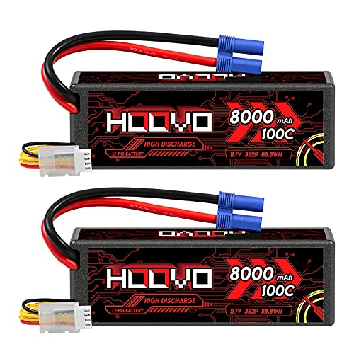 HOOVO 3S 11.1V Lipo Battery 8000mAh 100C RC Battery Hard Case with EC5 Connector for RC 1/8 1/10 Scale Vehicles Car RC Truggy Truck Airplane Helicopter Boat(2 Pack)
