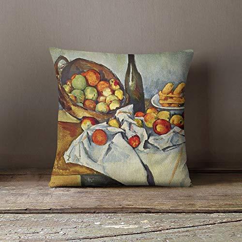 Ad4ssdu4 Cezanne Painting Decoratieve kussensloop Ontwerp Kussensloop Verjaardagscadeau Home Decor Kussensloop mand met appels