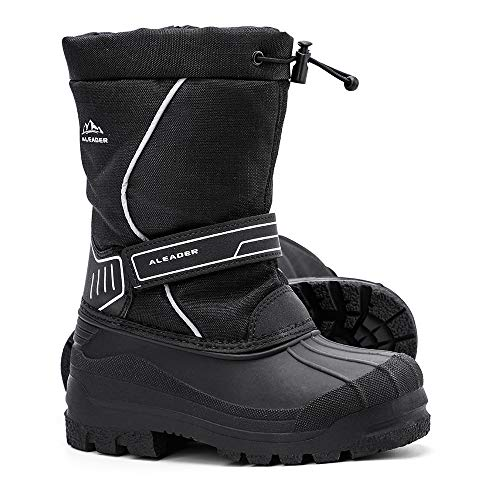 HOBIBEAR Girls Winter Snow Boots Waterproof Outdoor Warm Faux Fur Lined Shoes with Strap (Hot Pink,11.5 Little Kid)