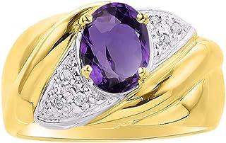 Diamond & Amethyst Ring Set in 14K Yellow Gold