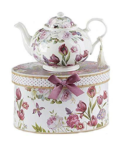 9.5 x 5.6' Porcelain Tea Pot in Gift Box, Tulip