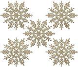 Naler 24 Adorno Copo de Nieve de Plástico Adornos Navideños con Purpurina para Decoración Colgante de Árbol de Navidad (10cm, Color Champán)