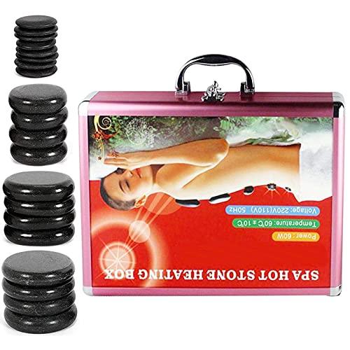 20 Pcs Basalt Hot Stones for Massage with Warmer Kit, 4 Sizes Hot Stones Massage Kit for...