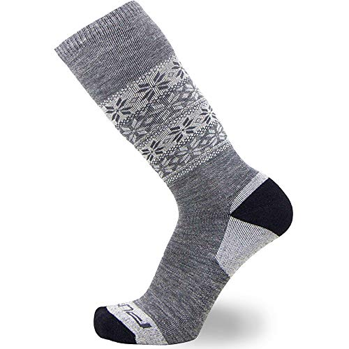 Kids Alpaca Ski Socks – Warm Wool Ski Sock for Boys and Girls – Skiing, Snowboarding, Cold Weather, Winter – (Gray - 1 Pair, S/M)