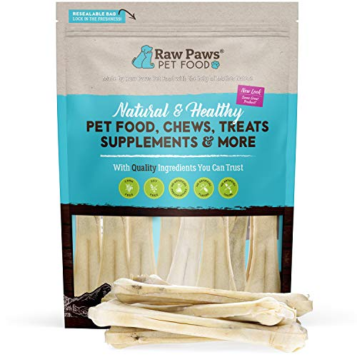 Raw Paws Pet Premium 10-inch Compressed Rawhide Bones for Dogs, 10-Count - Packed in USA - Long Lasting Dog Chews - Chews for Large Dogs - Natural Rawhide Dog Bones - Dog Chews for Aggressive Chewers