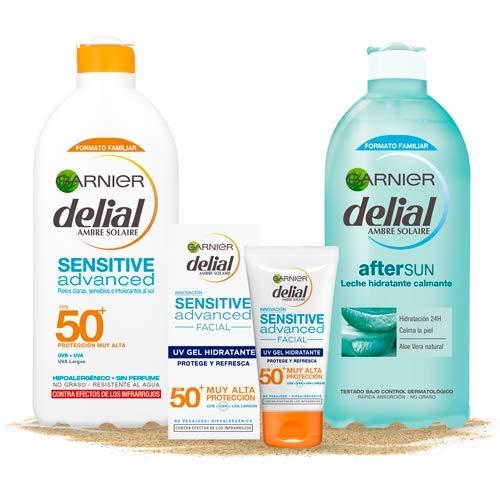 Garnier Delial Kit de Protección Pieles Sensibles: Protección Facial UV Gel IP50+, Leche Solar IP 50+, Leche Hidratante Calmante After Sun - Gel 50 ml, Leche Solar 400 ml, After Sun 400 ml