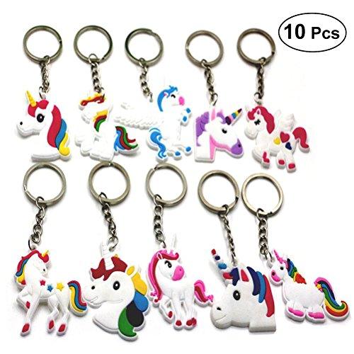TOYMYTOY Licorne porte-clés Unicorn Design Porte-clés pour enfants filles anniversaire cadeau Jouets,Paquet de 10