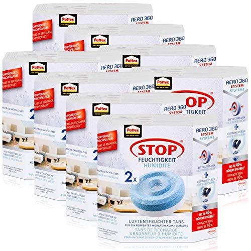 Henkel Pattex Stop Feuchtigkeit Aero 360° Luftentfeuchter Nachfüllpack 2x450g Neutral-Tabs - Vorbeugend gegen Feuchtigkeit, schlechte Gerüche und Schimmel (8er Pack)