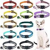 Collar Reflectante Gatos pequeño,12 Piezas Collares de Gato Collar Gato con Campana y Hebilla de Seguridad,para la mayoría de los Gatos domésticos