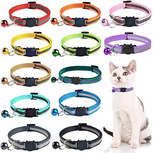 Katzenhalsband Reflektierendes,12 Stück Verstellbar katzenhalsbänder Katzenhalsbänder mit Glocke und sicherheitsverschluss,für die meisten Hauskatzen
