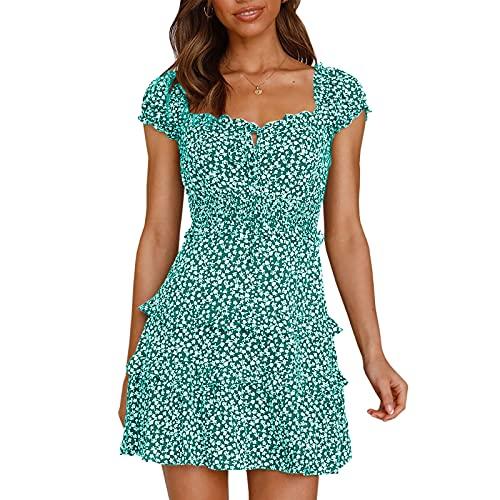 Lalaluka Abito da donna, lunghezza al ginocchio, maniche corte, scollo angolare, stampa floreale, vestito estivo, da spiaggia, da cocktail, per il tempo libero, verde, S