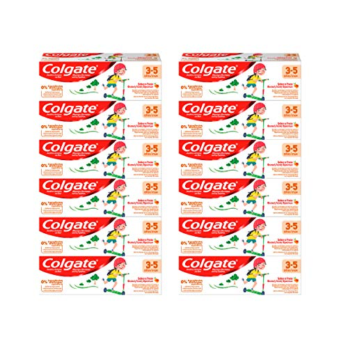 Colgate Niños 3-5 años anticaries, Pasta de Dientes infantil, sabor a fruta - Pack 12 uds x 50ml