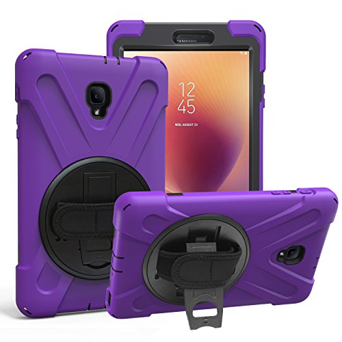 KIQ Galaxy Tab A 8.0 (2017) Case, [Tab A2 S, T380 T385] Shockproof Heavy Duty Impact Drop Protection Cover, Stand, Hand Strap for Samsung Galaxy Tab A A2s 8-inch SM-T380 SM-T385 (Shield Purple)