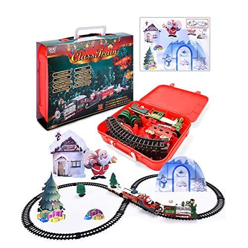 Juego de trenes navideños, juego de trenes navideños con luces y sonidos, vías de tren para debajo/alrededor del árbol de Navidad con 15 vías, locomotora a batería, regalo de juego para niños