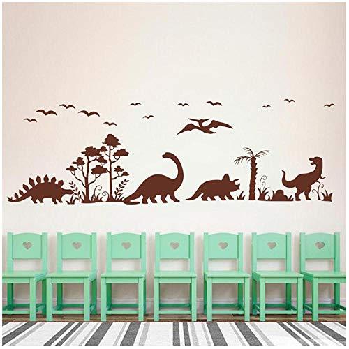 KBIASD Large Dinosaur Tree Bird Vinyl Sticker Decal-Jurassic Park Forest Dinosaur Nature Vinyl Wall Sticker-Living Room 133x42cm