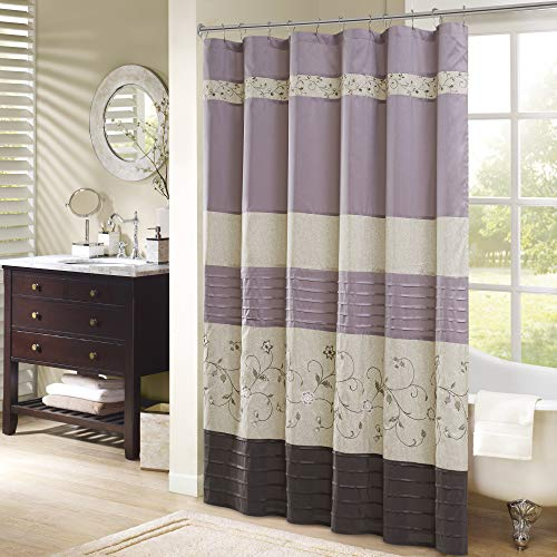 Madison Park Serene Shower Curtain Faux Silk Embroidered Floral Machine Washable Modern Home Bathroom Decorations, 72x72, Purple
