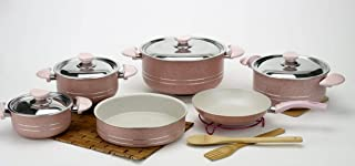 Lazord Granite Cookware Sets Pot 16, 18, 22, 26 & Frying Pan 24 and Oven Tray 24, Roze