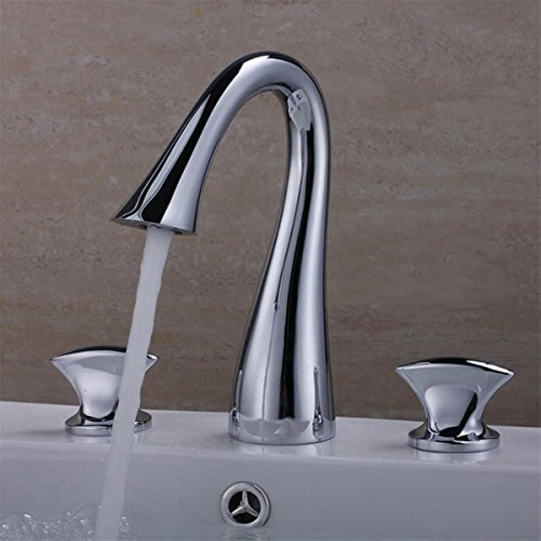 LHbox Moderne Chrom mit Doppelgriff Bohrung Drei heie und Kalte Mischventil WC Waschbecken 3-Teilige Badezimmer Waschbecken Waschtisch Armatur