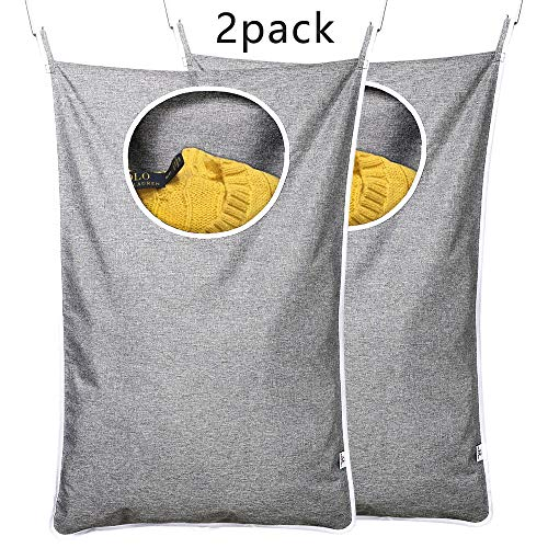 KEEPJOY Saves Space Door-Hanging Laundry Bag, Adds 2 Different Hook Types, Oxford Fabric Large Size. 2 Pack Gray