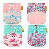 Wenosda 4PCS Pañales de tela para bebés Pañales de bolsillo Pañales reutilizables lavables Inserte el pañal de bolsillo todo en uno para la mayoría de los bebés y niños pequeños (Amor Rosa)