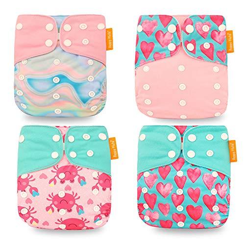 Wenosda Pannolini per bambini lavabili riutilizzabili per Inserisci pannolino tascabile all-in-one per la maggior parte dei neonati e bambini piccoli(4 pezzi) (Pink Love)