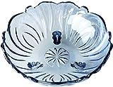 Fruit basket Bandeja para frutas, cuenco para frutas, tazón de fruta grande, creativo, adornos decorativos planos, frutas de cristal transparente (color: azul, tamaño: 24 x 24 x 11 cm)