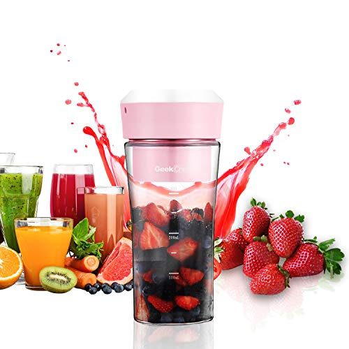 Image of Geek Chef Portable Blender USB Fruit Mixer Personal Blender Small Blender for Shake and Smoothie Rechargeable Waterproof Glass Blender Cup, Juicer Machine BPA Free Pink: Bestviewsreviews
