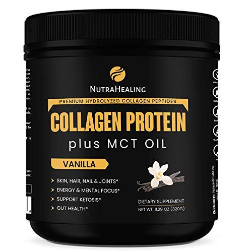 Recovery Collagen Protein Powder MCT Oil & Magnesium | Essentials BCAA | Sugar Free, Gluten Free, Dairy Free & Non-GMO | Ideal for Low Carb, Paleo & Keto Diet | Vanilla Flavor