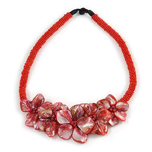Avalaya, Splendida collana in vetro con conchiglia, motivo floreale, lunghezza 48 cm, colore rosso
