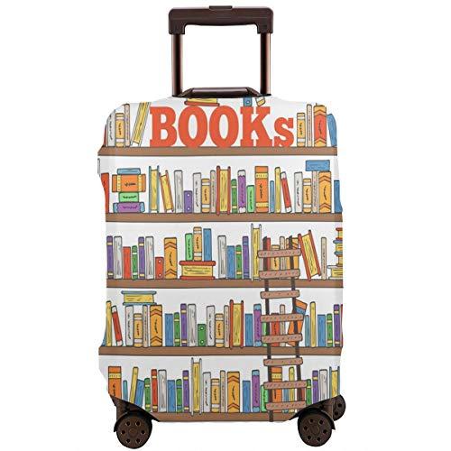 Nicokee Reisegepäck-Abdeckung, Cartoon-Design, modernes Bücherregal, Mehrfarbig, Koffer-Schutz, passend für 45,7-81,3 cm Gepäck, Mehrfarbig (Mehrfarbig) - UKXXLX-FCZ-95409577