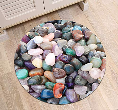 ETOB Gemstone Pebbles Area Rugs Colorful Cobblestone Memory Foam Non-Slip Round Rug Washable Living Room Bedroom Carpet for Kids Playroom Play Mat Nursery Rugs, Dia. 2'(60cm)