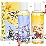 Massageöl-Set - 100% Naturrein Massage Öl mit Angenehmen Düften, Sinnliches Massageöl für Massage und Muskelentspannung - Top 2X148ML Massage Oil Ylang-Ylang, Lavendelöl,Jasminöl,Arganöl, Mandelöl