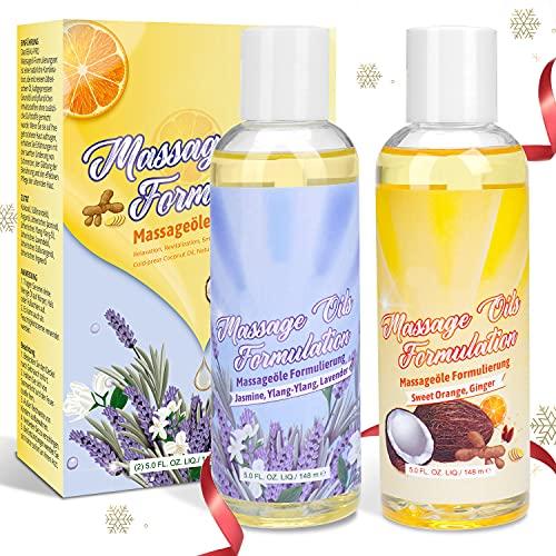 Massageöl-Set - 100% Naturrein Massage Öl mit Angenehmen Düften, Sinnliches Massageöl für Massage und Muskelentspannung - Top 2X148ML Massage Oil Ylang-Ylang,...