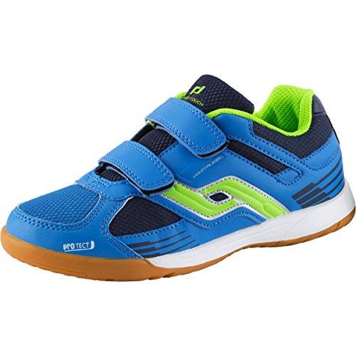 Pro Touch Unisex-Kinder Courtplayer Klett Multisport Indoor Schuhe, Blau (Blau/Grün/Navy 000), 33 EU