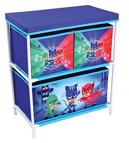 FUN HOUSE 712933 Etagère 3 casiers pour Enfant, PP/Carton/Armature/Plastique, Bleu, 60,5 x 30,5 x 66 cm
