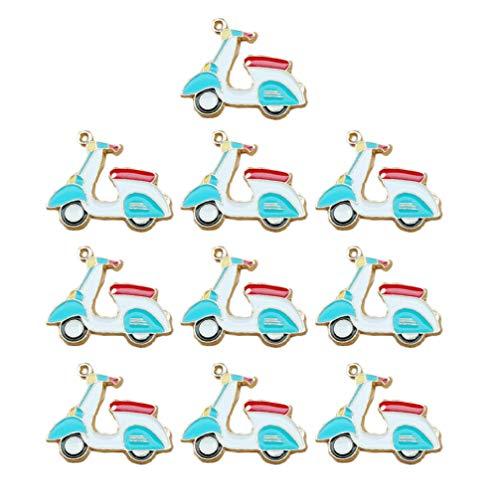 Exceart Elektromobil Anhänger Charme Emaille Charms Handwerk Anhänger Schmuck Verzierung Ornament für DIY Handwerk Schlüsselbund Telefon Fall Haarspange Dekoration 10 Stück (Himmelblau)