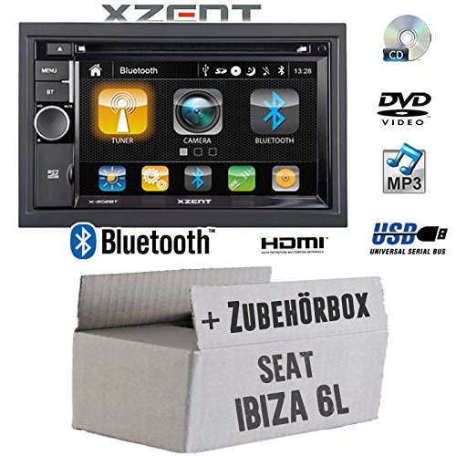 Autoradio Radio Xzent X-202BT MkII | 2-DIN Bluetooth DVD CD USB HDMI Touch Bildschirm PKW - Einbauzubehör - Einbauset für Seat Ibiza 6L - JUST SOUND best choice for caraudio