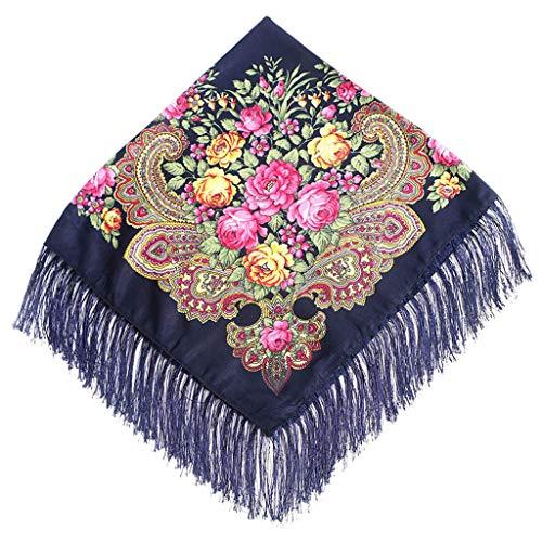 Lazzboy Frauen Lady Folk-Custom Print Quaste Square Schal Wrap Schal Travel Schal(D)