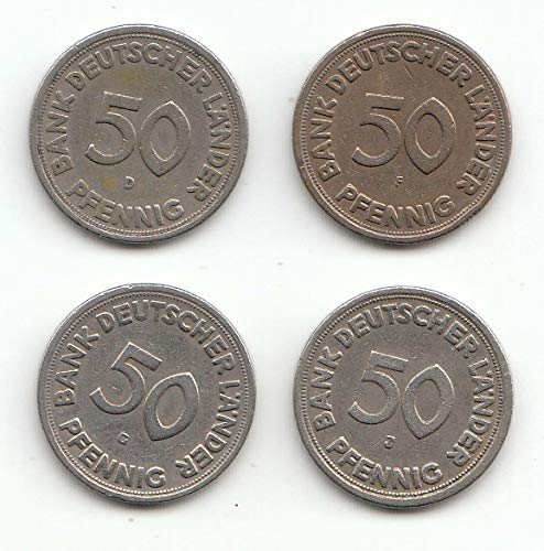 generisch Set 4 x 50 Pfennig D, F, G, J 1949 Bank Deutscher Länder 1949 (Münzen für Sammler)