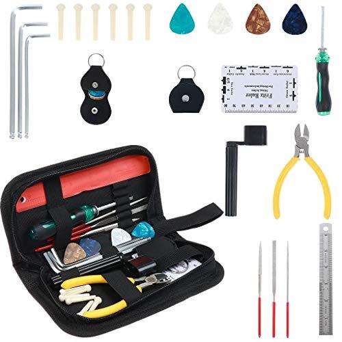Xgood 22 Pieces Guitar Repairing Maintenance Tool Kit String Organizer String Action Ruler and Gauge Measuring Tool Repair Tools for Guitar Ukulele Violin Bass