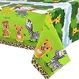 WERNNSAI Selva Safari Animales Mantel - 1 PCS 137 x 274 cm Desechable El Plastico Mantel de Fiesta...