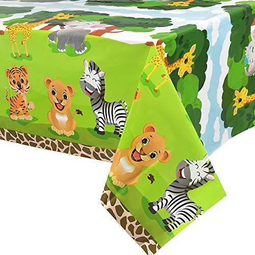 WERNNSAI Selva Safari Animales Mantel - 2 PCS 137 x 274 cm Desechable El Plastico Mantel de Fiesta Zoo Tema Suministros para la Fiesta para Niño Cumpleaños Baby Shower Decoraciones de Fiesta