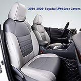 Cqlights Rav4 Seat Cover Auto Full Set Seat Covers Protector Leather Gray for Toyota RAV4 2019 2020 2021 (Non-Hybrid)