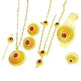 Etiopía Color dorado Colgante de pelo Pendientes de cadena Anillo Pinza para el cabello Pulsera Eritrei Habesha Conjunto de joyas de boda para mujeres-verde