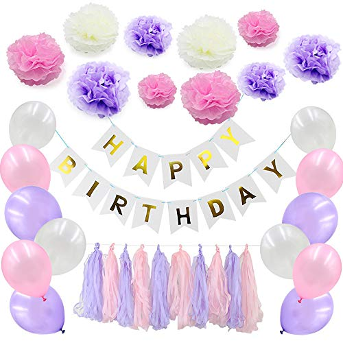 99native@ 33 Pcs Paper Pom Poms Flowers Tissue Balloon Tassel Garland Polka Dot Paper Garland Kit for Birthday Wedding Party Decorations - Pink and White (Purple)