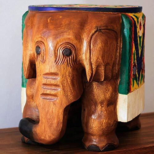 ZUQIEE cerámica Elefante Crafts Productos de Madera tallados a Mano Huanxie Taburete viviendo Decoración de 37 * 31 * 35 cm Elegante y Hermosa