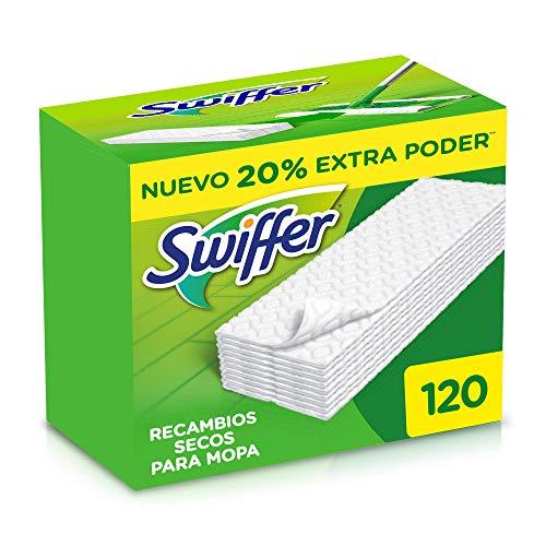 Swiffer Mopa, 120 Recambios Secos, Ideales para Suelos de Madera, Cerámica y Vinilo